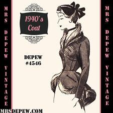 Vintage Sewing Pattern 1940's Ladies' Peplum Jacket in Any Size Depew #4546