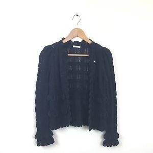 Oscar-De-La-Renta-Cardigan-Sweater-S-Black-Ruffle-Long-Sleeve-Women-s