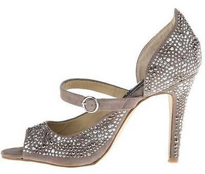 Women's Shoes Naughty Monkey ANGELA Mary Jane Pumps Heels Taupe Crystals