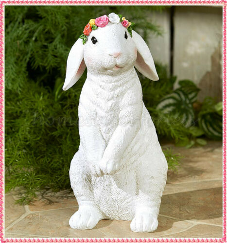Welcome Spring Garden Porch Easter Bunny Statue Sculpture Patio Lawn Art Decor