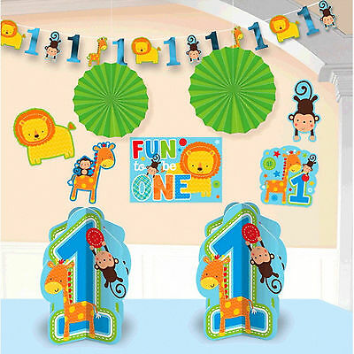 10 Piece Wild Fun To Be One Blue Boy's 1st Birthday Party Room Decorating Kit