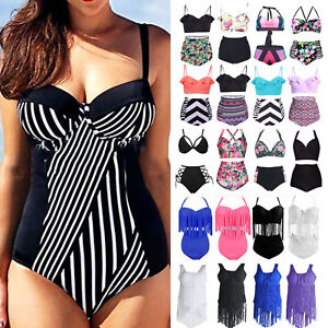 Plus-Size-Womens-High-Waist-Padded-Bikini-Tankini-Boho-Swimwear-Swimsuit-Beach
