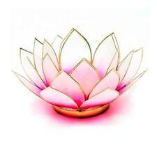 Pink & L Blanco Con Adorno De Oro flor de loto Cápiz Shell vela vela titular &