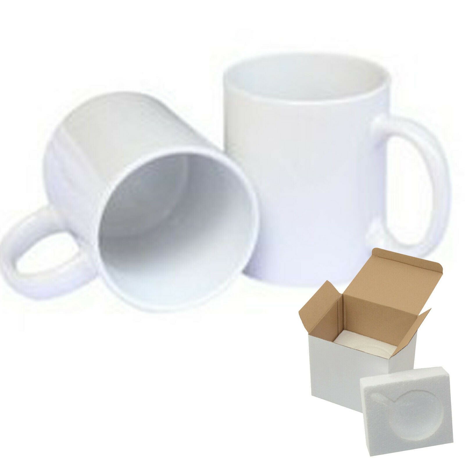 12 PCS AAA 15oz blank Weiß sublimation mug With Foam Supports Cardboard Box
