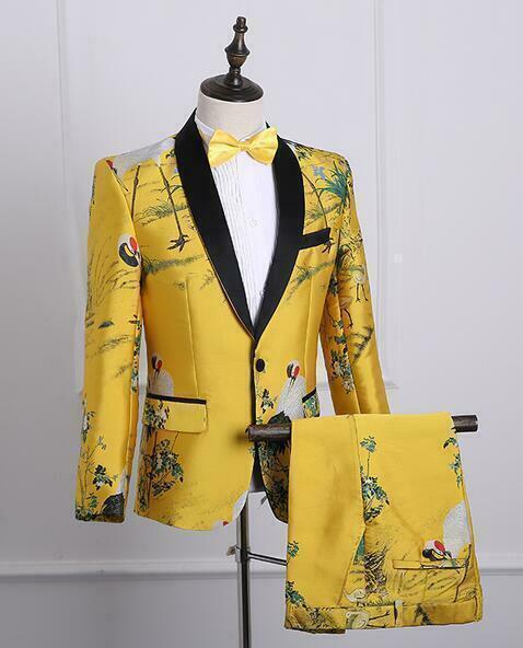 Smart 3 un. Para Hombre Bordado  Floral Formal Boda Trajes Caliente Chaqueta Pantalones corbata de moño  varios tamaños