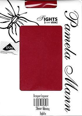100% Vero Pamela Mann Collant-pantyhose-colore: Rosso-tg. Taglia Unica-sheer Lucido-mostra Il Titolo Originale