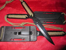 Neck Knife Fingermesser Messer Oliv Gürtelmesser Paracord Halsmesser + Holster