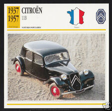 1937-1957 Citroen 11B 11-B Car Photo Spec Sheet Info Stat French Atlas Card