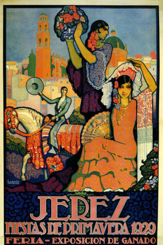 Jerez Spain Vintage Poster 1929 Party Fashion Girls Tourism Reproduction FREE SH