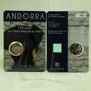 2 Euro Gedenkmünze Münze Coin Andorra 150 J Reform Von 1866 2016 Bu