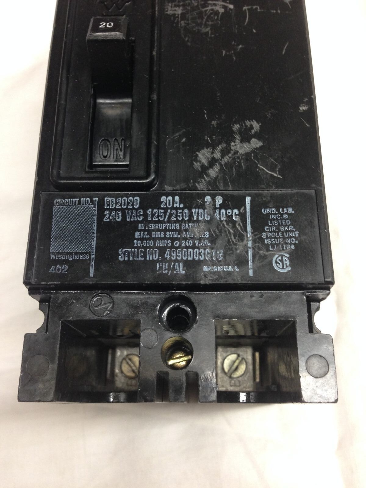 Westinghouse Eb2020 20 Amp 2 Pole 240v Circuit Breaker Ebay Gfci Receptacle With Led Screw Mount 125 Volt Ac 2pole 3
