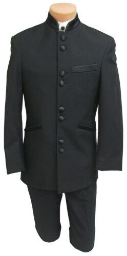 Men/'s Black Tuxedo Jacket with Satin Mandarin Nehru Banded Collar 8 Buttons 40R