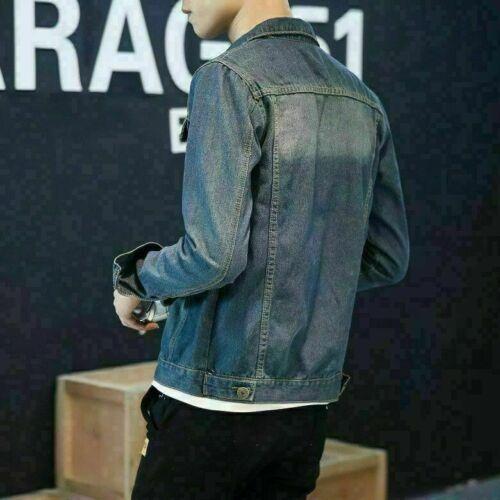Mens Slim Fit Classic Retro Button Thicken Coat Boys Jean Denim Jacket Outerwear