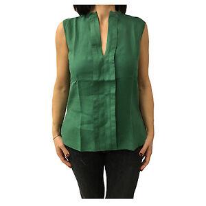 big sale f7140 4fc53 Dettagli su ASPESI camicia donna senza maniche verde mod H805 C195 100%lino  vest. regolare