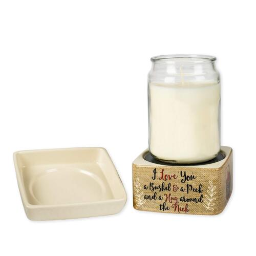 I Love You A Bushel And A Peck Burlap Apples Ceramic 2 in 1 Jar and Wax Warmer