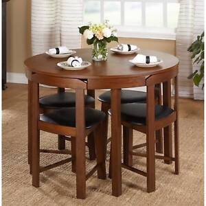 Round Wood Kitchen Table Sets 5 piece dining table set oak wood kitchen room 4 chairs compact image is loading 5 piece dining table set oak wood kitchen workwithnaturefo