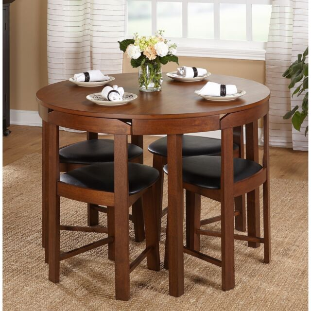 Small Dining Table Set Compact Round Wood 4 Chairs Kitchen Modern Furniture 5 Pc