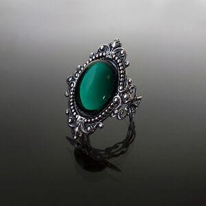 Victorian-gothic-ring-Emerald-green-filigree-silver-steampunk-wedding-SINISTRA