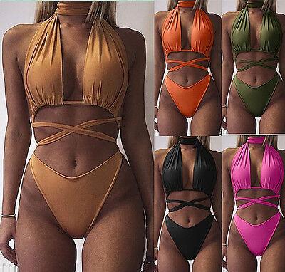 New Womens Ladies One Piece Beach Bikini Sets Push Up Bandage Swimsuit Swimwear