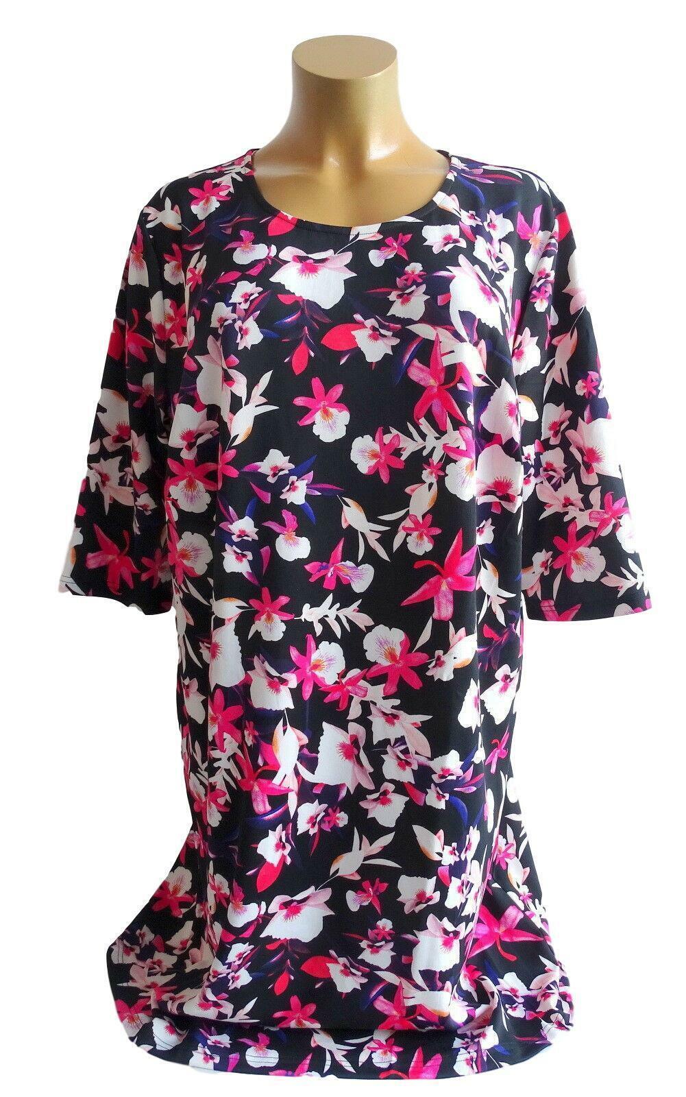 NEU Übergröße schickes Damen Stretch Jersey Kleid Blumendruck Muster Gr.56,60,62