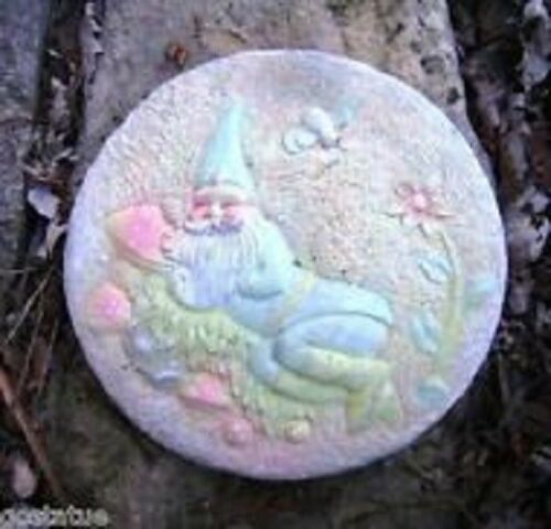 Gnome elf plaque mold plaster cement stepping stone plastic mould