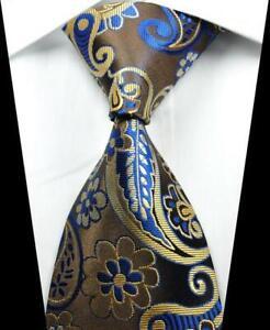 Classic Paisley Dark Blue Beige JACQUARD WOVEN 100/% Silk Men/'s Tie Necktie Hot
