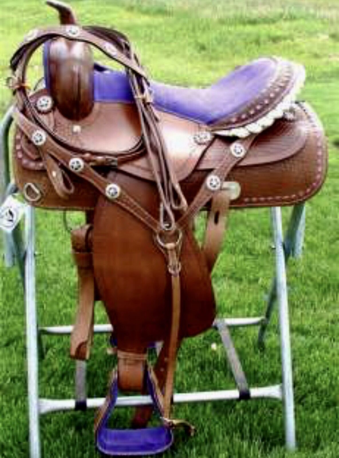 15 viola Bling Medium Dark Oil Western Adult Trail Barrel Racer Saddle 4pc SET