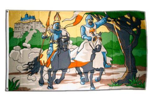 Fahne Ritter mit Burg Flagge Mittelalter Hissflagge 90x150cm