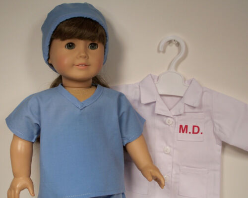 """5pc Doctor Dr MD-Coat BLUE Scrubs Clothes For 18/"""" American Girl Doll Debs"""