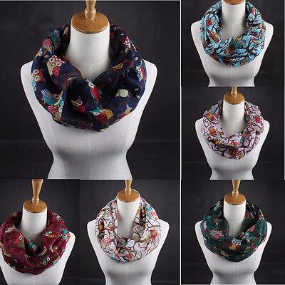 Girls Women Ladies Owl Pattern Print Scarf Warm Wrap Shawl Voile Scarf Scarves