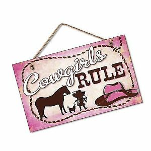 4e2e5a9ccd2ab Little Cowgirls Rule Sign Pink Plaque Western Cowboy Hat Horse Rope Decor