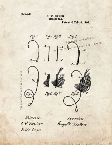 Fishing Fly Patent Print Old Look