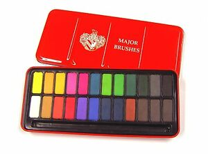 Major-Brushes-Watercolour-Art-Paint-Tin-Set-12-18-or-24-Colours-Available