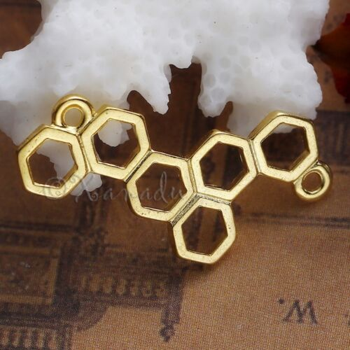 Honeycomb Charm Wholesale Gold Plated Connectors C1376-10 20 Or 50PCs