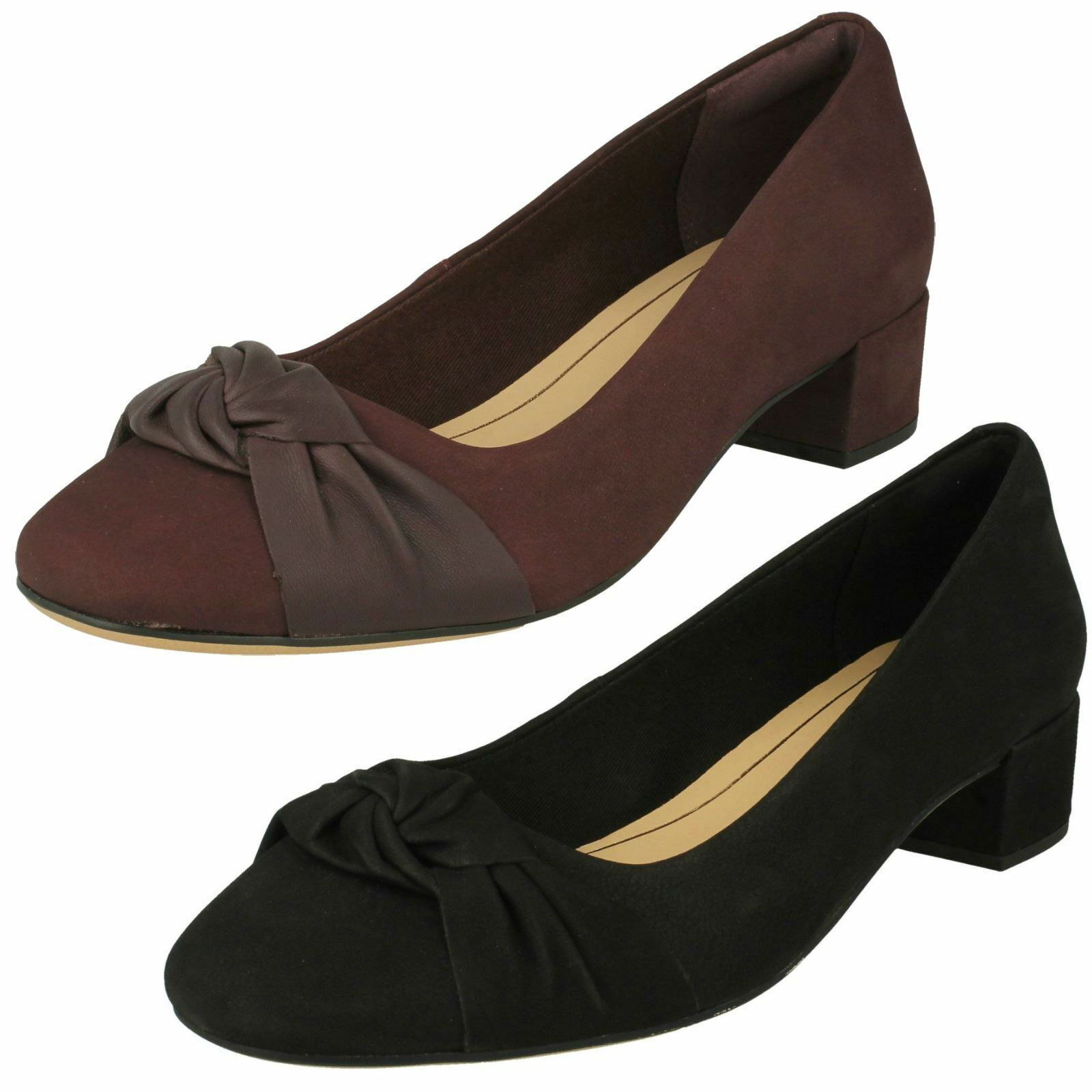 Damenschuhe Clarks Bow Detailed Block Heel Schuhes Orabella Lily