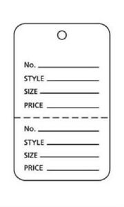 3000 Small Perforated Merchandise Coupon Price Tags White