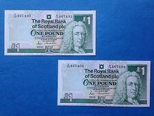 1987 Royal Bank of Scotland Consecutive Pair of £1 Notes, A/38 prefix, UNC