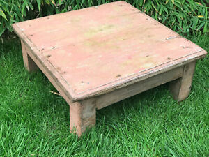 Vintage-Indian-Tropical-Hardwood-Low-Table-Great-for-Display-Coffee-Table-Pink