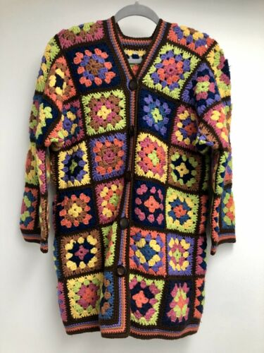 Vintage Crochet Rainbow Cardigan Granny Square Mul
