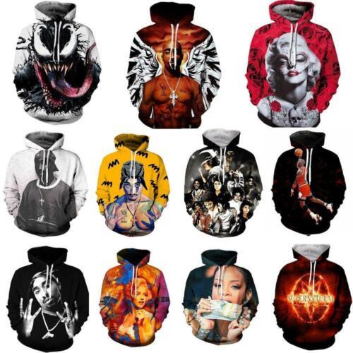 Mens Women 3D Print Hoodie Sweater Sweatshirt Jacket Coat Pullover Graphic Tops