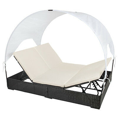 Rattan Day Bed Sun Canopy Roof Lounger Garden Furniture Patio Terrace Ratten New