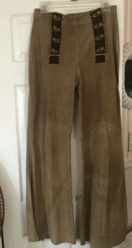 North Beach Leather Suede 1970s Whipstitch Flares