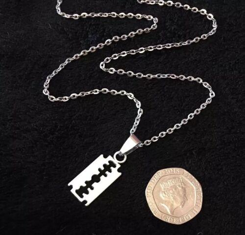 "Small Razor Blade Necklace Boho Rockabilly Pendant 18/"" Chain Gothic Steampunk"