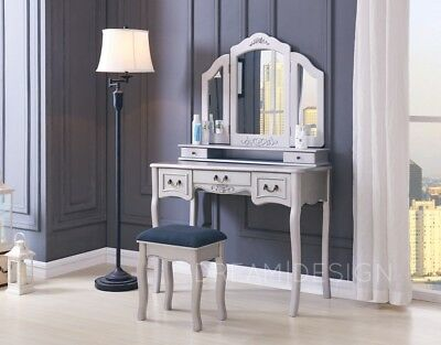 White Ivory Black Dressing Table With Stool 5 Drawers And 3 Panel