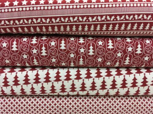 """Red Scandi 100/% Algodón Patchwork con temática de Navidad y de manualidades tela 45/"""" mTEX"""