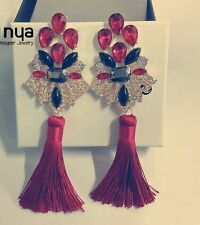 ANTHROPOLOGIE MOST AMAZING RED STONES TASSELS 5,5'' DROP DANGLE EARRINGS NEW