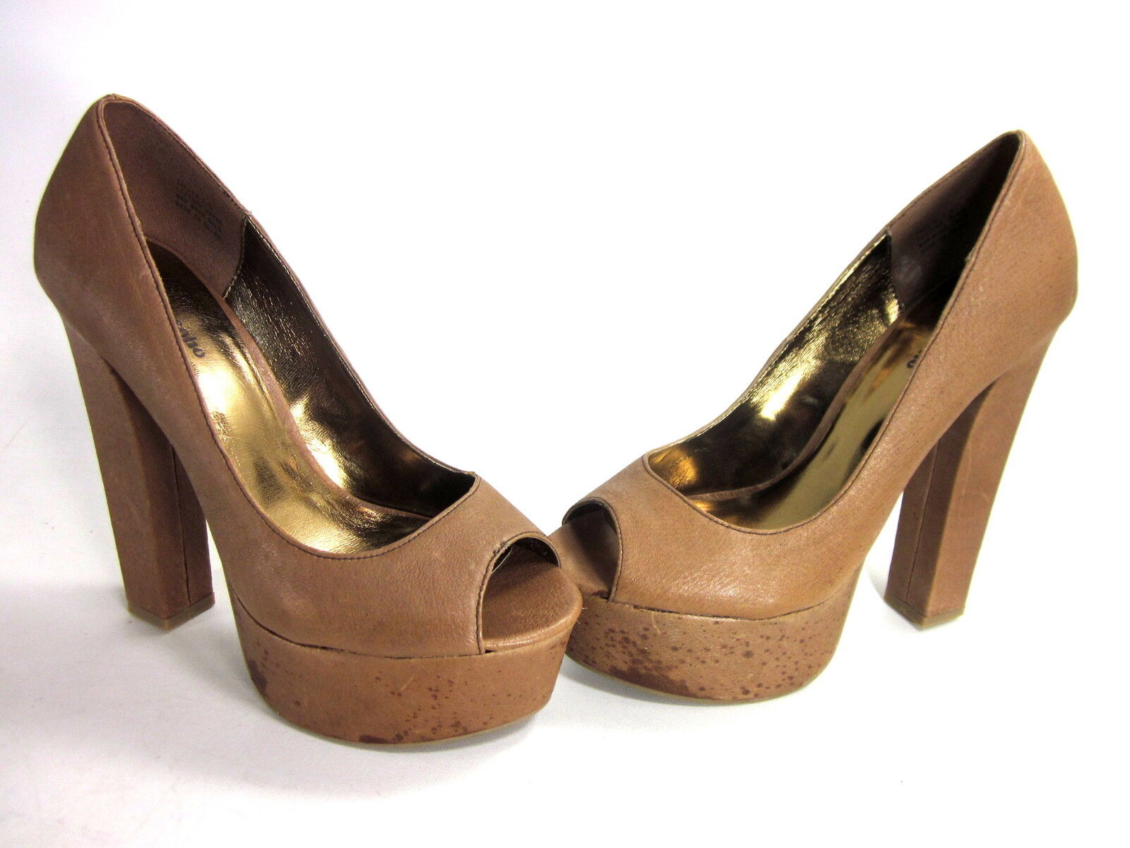 ZIGINY WOMEN&#039;S JACLYN PUMPS TAN LEATHER/SYNTHE<wbr/>TIC SOLE IMPORTED US SIZE 7.5 MED