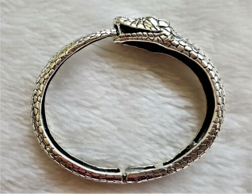 Argent Sterling 925 Ouroboros Bracelet Serpent manger Queue Ancient Egyptian Amulet