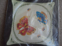 Bucilla Oriental Butterflies Crewel Embroidery Square Pillow Kit 16x 16