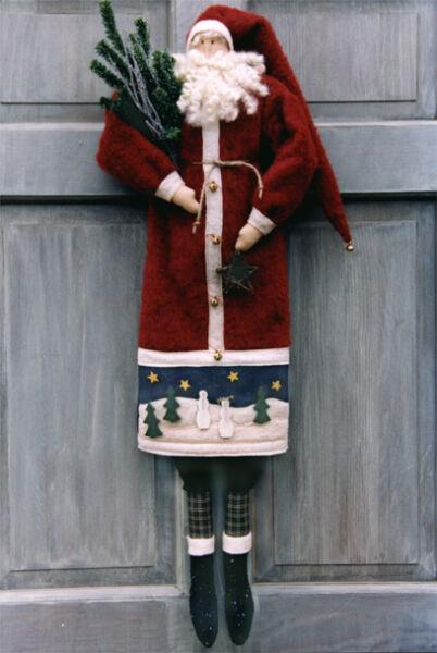 #6097 35' Santa cloth doll pattern by Bonnie B Buttons Winter decor wall art